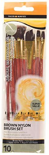 Daler Rowney - 214900918 - Kit De Loisirs Créatifs - Ensemble De Pinceaux En Nylon Brun Simply - 10 Pièces