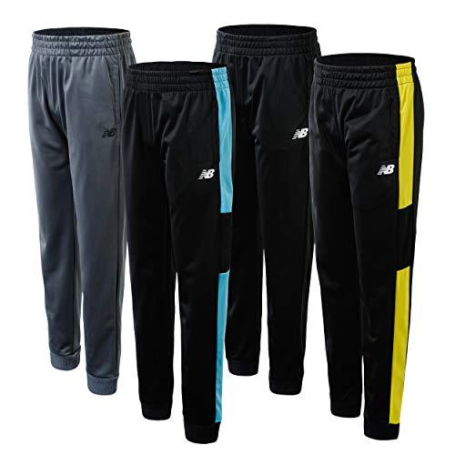 New Balance Boys' Sweatpants - 4 Pack Active Tricot Joggers (Little Kid/Big Kid), Size 10/12, Black/Lead
