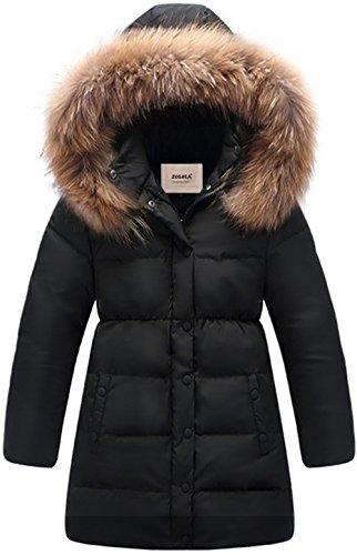 ZOEREA Big Girls' Winter Parka Coat Puffer Jacket Padded Overcoat with Fur Hood (Black, Label 160/ Height 56-60 inch)