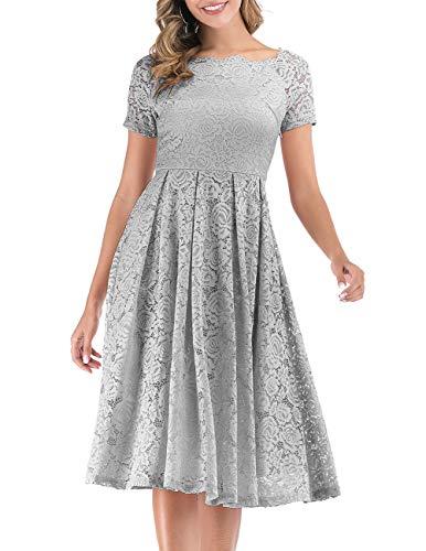 DRESSTELLS Damen Elegant Vokuhila Kleid Spitzenkleid Kurzarm Cocktailkleider Party Ballkleid Silver S