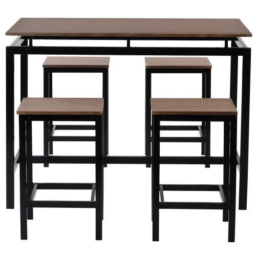 Mesa de comedor industrial con 4 sillas (roble), mesa de cocina de 5 piezas de altura (color: C)