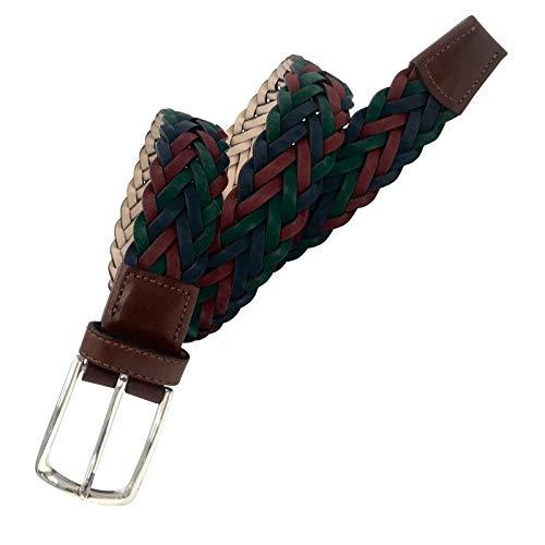 Leyva - Cinturón trenzado de piel de Vaquetilla de hombre (110 cm)