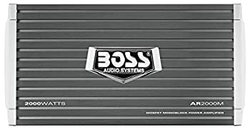 BOSS Audio Systems AR2000M Monoblock Car Amplifier - 2000 Watts 2-4 Ohm Stable Class A-B Mosfet Power Supply Gray