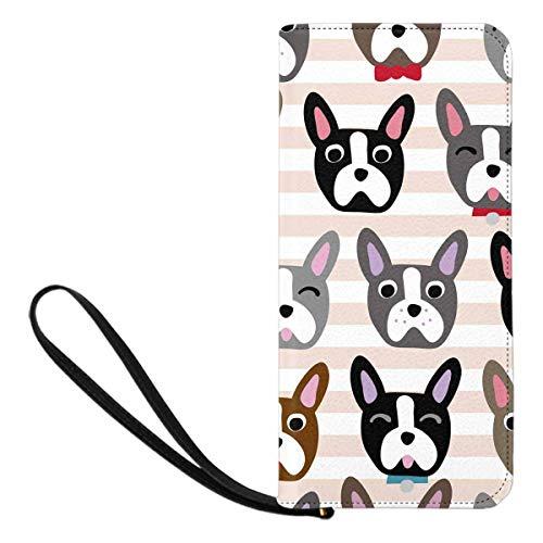 INTERESTPRINT Dog Face Cartoon French Bulldog Zip Around Wallet Clutch Wristlet Travel Long Purse for Women