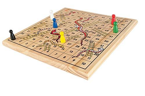 Preisvergleich Produktbild Wooden Snakes and Ladders Game by Gamez Galore
