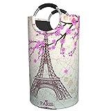 Cesto portabiancheria pieghevole a forma di torre Eiffel, impermeabile, grande, per vestiti, giocattoli, camera da letto dei bambini, bagno, con manici in alluminio