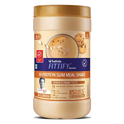 Saffola FITTIFY Gourmet Hi Protein Slim Meal-Shake, Meal Replacement with 5 superfoods, Cookies & Cream, 420 gm (12 servings)