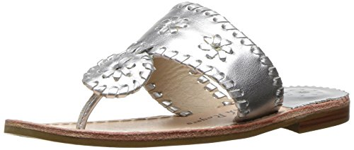 Jack Rogers Girls' Miss Hamptons II Sandal, Silver, 13 M US Little Kid