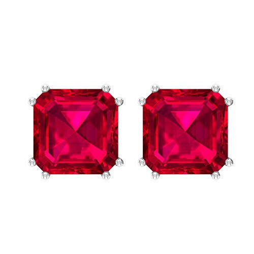 Asscher Stud Earrings, 9.45 CT Asscher Shaped 8 MM Glass Filled Ruby Solitaire Earrings, Gemstone Jewelry, Asscher Cut Earrings, Gift for Girlfriend, 18K White Gold, Pair