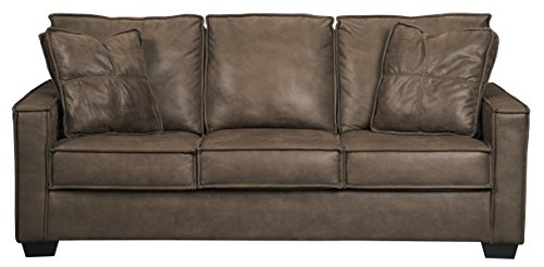 Signature Design by Ashley - Terrington Contemporary Faux Leather Sofa, Brown