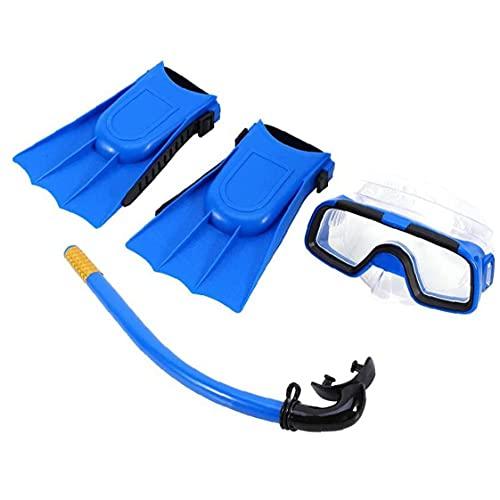 XKJFZ Los niños Conjunto del Tubo respirador del Salto Conjunto Anteojos Tubo de respiración con Aletas para Niños Niñas Azul, Traje de baño