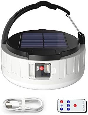 zuppnm LED Camping Lantern Rechargeable Portable Solar Light Bulb with Remote 800 Lumen USB product image