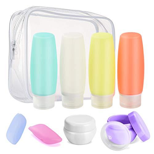 Sepper 8 Stück Silikon ReiseFlaschen Set mit Kulturbeutel, Auslaufsicher Reisebehälter für Shampoo, Duschgel, Lotion, Toilettenartikel, FDA zugelassene nachfüllbare Flüssigkeitsbehälter
