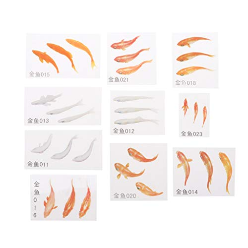 Xuniu 10 Pieces 3D Real Goldfish Clear Film Sticker For Resin DIY Painting Jewelry Making