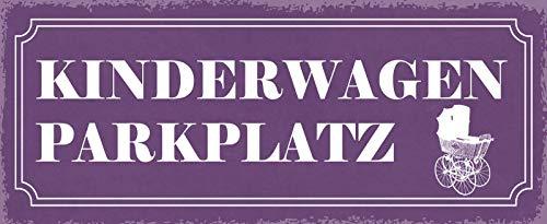 Kinderwagen Parkplatz Blechschild Metallschild Schild gewölbt Metal Tin Sign 10 x 27 cm