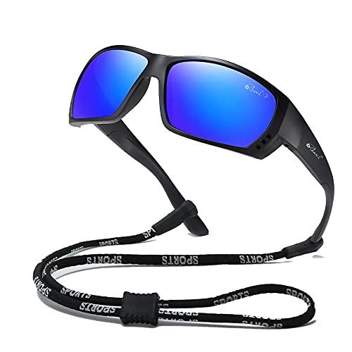 Bevi Gafas de sol polarizadas deportivas para hombres y mujeres TR90 con marco cuadrado, flexibles y duraderas, Azul oscuro, X-Large