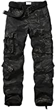 TRGPSG Men's Lightweight Hiking Pants Outdoor Ripstop Wild Cargo Pants Multi-Pocket Military Army Camo Casual Work Trousers 5335 Dark Camo 34