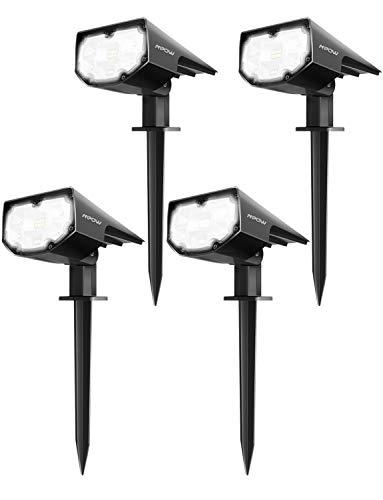 Mpow 4 Stück 12 LED Solarstrahler Solarleuchten, Solarlampe Außen Wandleuchte, Helle Garten Solar Licht, 2 Beleuchtungsmodi, Pfostenlichter Wasserdicht, Sicherheitsbeleuchtung, Gartenleuchten für Hof