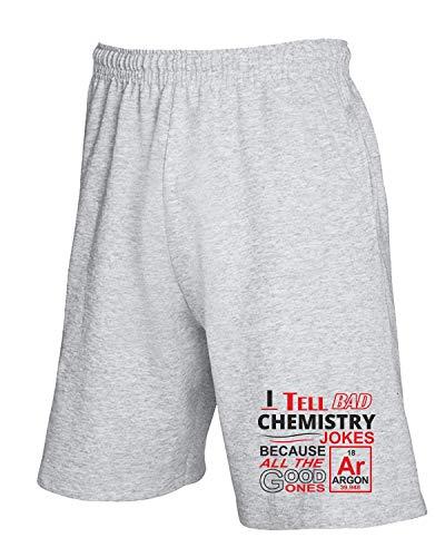 T-Shirtshock Jogginghose Shorts Grau GEN0530 Bad Chemistry Jokes Dark Back
