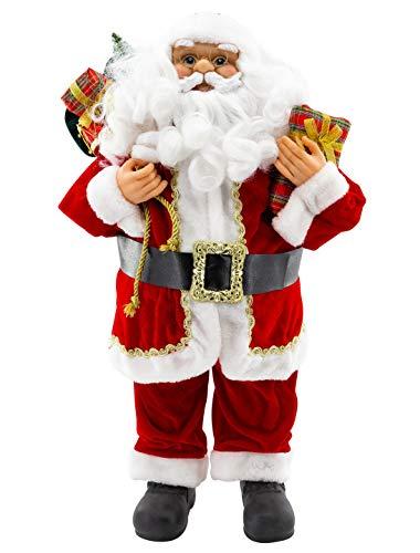 Weihnachtsmann Figur klassisch 60cm hochwertig in Samt-Optik Deko Nikolaus Santa Claus Dekofigur Weihnachtsdeko