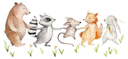 Wandtattoo Kinderzimmer Aquarell Tiere auf Wiese Bär Waschbär Maus Wandsticker
