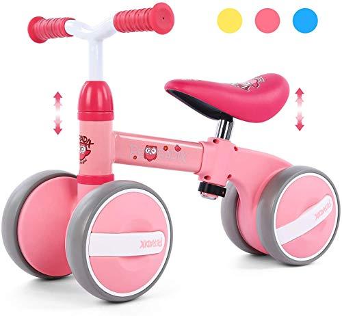 Peradix Bicicleta Sin Pedales para Niños y Niñas,Bici Sin Pedales de Manillar y Sillín Ajustables para Niño 1-3 Año Juguetes Equilibrio Triciclos Bebes,Correpasillos Bebe 1 año (Rosado)