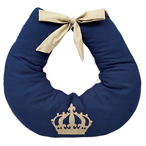 Almofada Amamentação Bebê Menino Imperial Azul Marinho Caqui