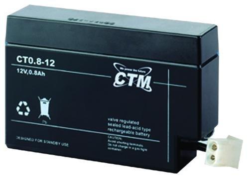 CT0,8-12 CTM Blei Gitter-Vließ-Batterie Bleiakku Bleibatterie Anschluss: JST 12 Volt 0,8 Ah