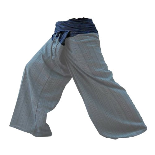kittiya 2 TONE Thai Fisherman Pants Yoga Trousers FREE SIZE Plus Size Cotton Rayon WARM GRAY and Dark Blue Stripe