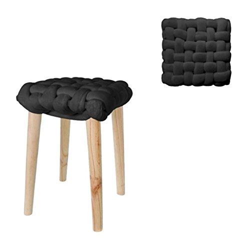 Kruk met knooppunt voeten van hout zwart 32 x 32 x 43 cm (H x B x H).