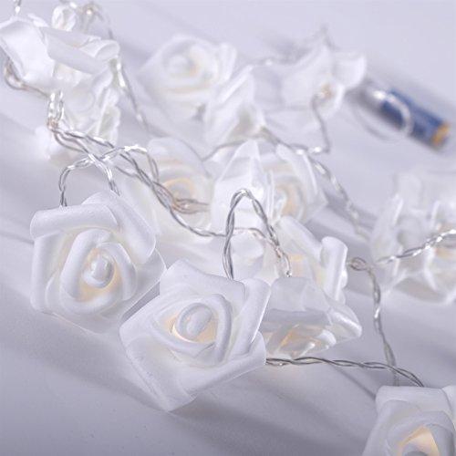 GHIRLANDA DI LUCI 'FIORI MARE' | 20 LED, a batteria, fiore rosa, bianco | luce, fiori collana