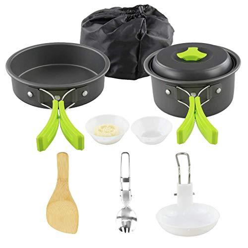 planuuik Draagbare Camping kookgerei Mess kit Vouwen Cookset voor Wandelen Backpacking 10 Stuk Lichtgewicht Duurzame Pot Pan Bowls Spork met Nylon Tas Outdoor Cook Equipment