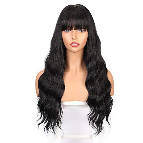 ENTRANCED STYLES Long Black Wig with Bangs Wavy Hair Wigs for Women Heat Resistant Synthetic Wig Natural Looking Realistic Wigs Hair Replacement Wig for Daily Party Cosplay Use