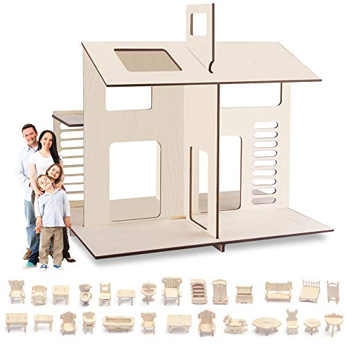 Saderoy 2-Floors Wooden Dream Dollhouse with 34Pcs Furniture Accessories - DIY Kit Assemble Dollhouse - 3D Miniature Doll House for Kids