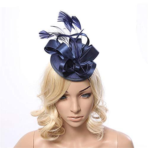 Sijux Frauen Mädchen Fascinators Feder Haarnadel Hut Cocktail Pillbox Hut Hochzeit Tea Party Hut Stirnband für Frauen,Blue