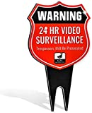 Signs Authority Warning 24 Hour Video Sign - No Trespassing Outdoor Signage - Heavy Duty Ground Stakes, Reflective Aluminum Panels - Surveillance Alert System for Homes, Business, Private Property