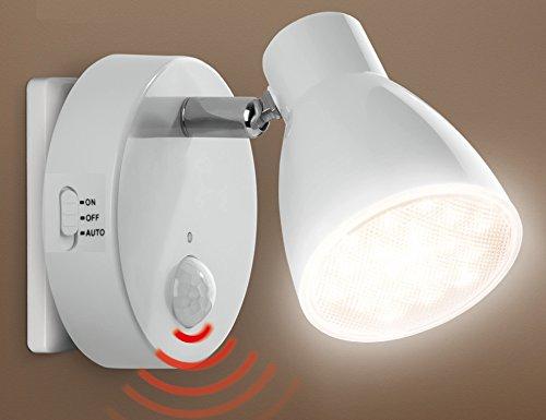 Trango LED Sensor Nachtlicht TG2635-016 in Weiß mit Automatikfunktion direkt 230V mit Bewegungssensor I Sicherheitslicht I Steckdose Lampe I Wandlampe I Orientierungslicht I Kinder Nachtlicht