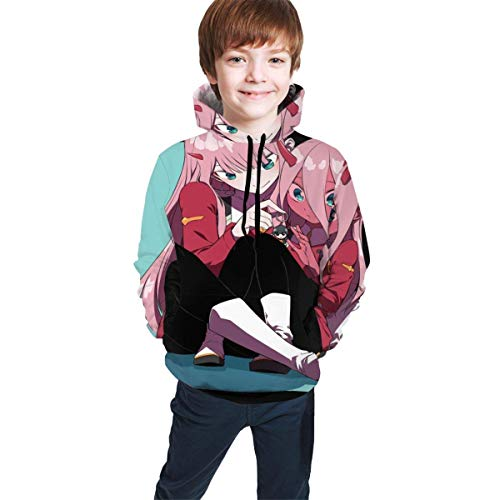 Children's Cool Hoodie Suitable for Boys and Girls Aged 7-20 Years Old Sweatshirt Pullover Darling in The FRANXX-Zero Two L Black