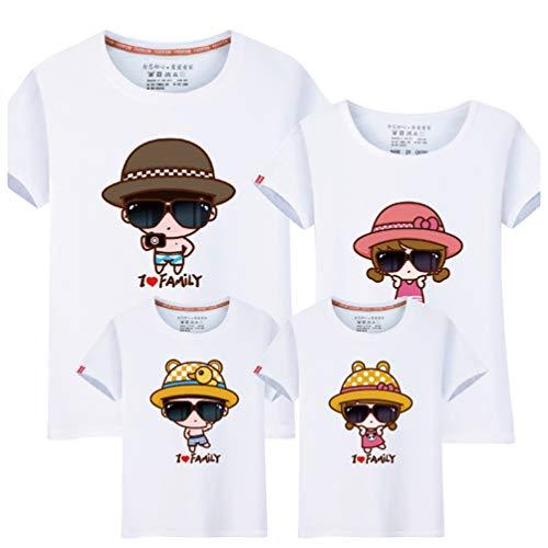 MisFox I Love Family - Camisetas Padre e Hijo Camisa Casual Manga Corta Cuello Redondo Imprimiendo La Camisa Camiseta Familiar Traje