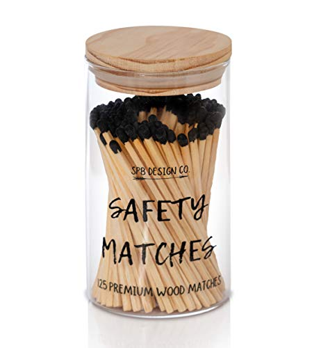 Decorative Matches, Long Matches for Candles, Matches Long Wooden | 125 Safety Matches in Apothecary Glass Jar with Durable Striker, Premium 4' Black Tip Matchsticks | Perfect Candle Accessory