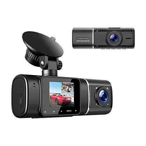 Dual Dashcam 1.5 Zoll Full 1080P Kamera Auto 310 ° Weitwinkel, IR-Nachtsicht-Innen Autokameras, G-Sensor, HDR, Loop-Aufnahm, Parküberwachung und Bewegungserkennung Auto Dashcam