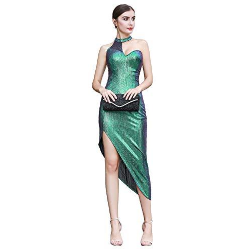 ROYAL SMEELA Abendkleider Damen Neckholder Hohe Empire Taille Kleider Bodycon Ballkleid Gala Gatsby Business Formell Kleid Abendkleid Elegant Art Deco Modernes dünnes Damenkleid