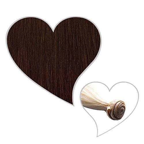 GLOBAL EXTEND® Haartresse 60 cm schokobraun#04 Echthaar 1 m Tresse zum Einnähen Flechten Microring Remy Hair Weave Sew in Extensions Echthaartresse Haarverlängerung Haarverdichtung