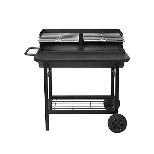 RED DECO - Barbecue a 2 griglie regolabili al carbone di legno Alabama con ripiano