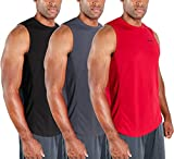 DEVOPS 3 Pack Men's Muscle Shirts Sleeveless Dri Fit Gym Workout Tank Top (Large, Black/Charcoal/Red)