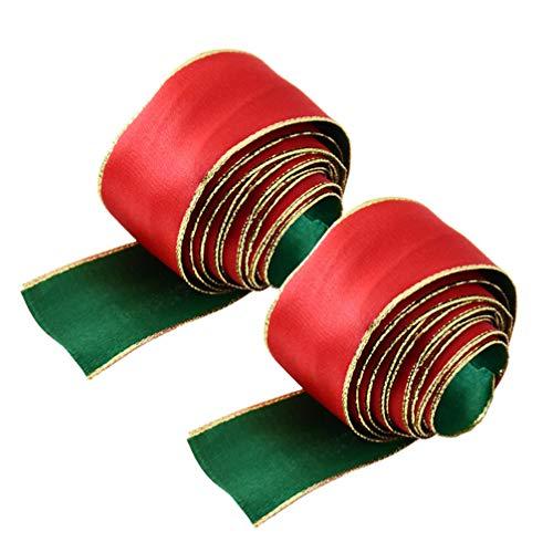 VORCOOL Nastro di Avvolgimento Nastro di Decorazione di Natale Nastro di Decorazione di Natale Puntelli Nastro di Avvolgimento Regalo - 2 Pezzi (Verde Rosso * 2 M)