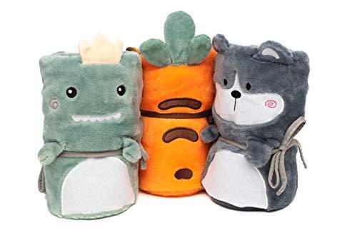 Satis Decken für Baby & Kind, 3er-Set - Weiche & zarte Flanell-Decke - Kuscheldecke, Babydecke mit Karotten-, Drachen- & Welpen-Design - Neutrale Farben, tolles Geschenk für Jungen & Mädchen