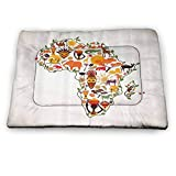 prunushome Dog Crate Bed Pet Mat Decorations Pet Dog Cooling Mat Pad Africa Travel Map Plan Traditional Objects Continental Culture Arts Craft Print for Kennels, Crates and Beds- Pets Multi (40'x27')