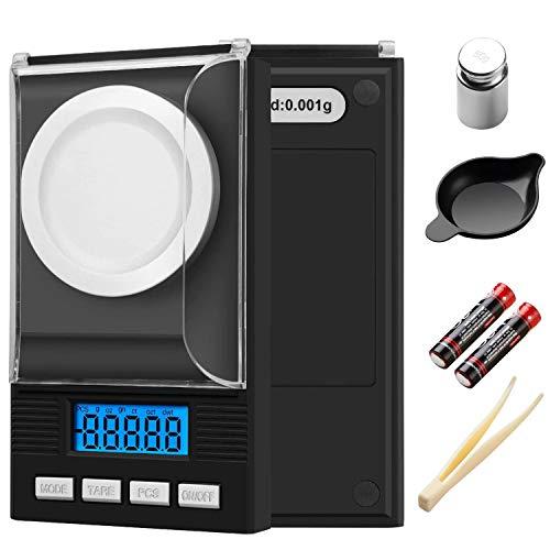 KINLO Bilancia di Precisione 50 g/0,001 g, Bilancia Milligrammo Precisione Digitale Scale, con display LCD, bilancia per gioielli, con pesi di calibrazione, pinze, ciotola di peso, 2 × Batterie