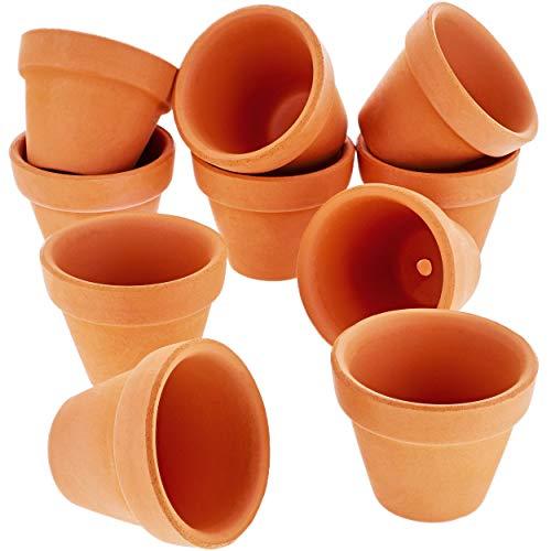 Lot de 10petits pots de fleurs en terre cuite- Usage intérieur ou extérieur - Pour plantes, fleurs, plantes grasses - Bruns -2,54 x 3,81cm